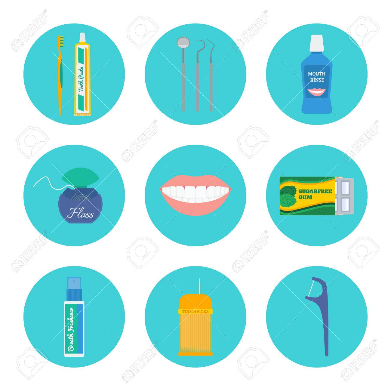 Dental Hygiene And Tooth Health Care Icon Set Brush Toothpaste Check