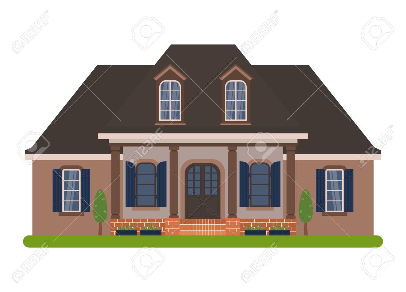 Maison de campagne moderne dans le style acadien. Vector illustration d\'une  maison de tourisme à louer, vente, réservation et vivant, isolé sur fond ...