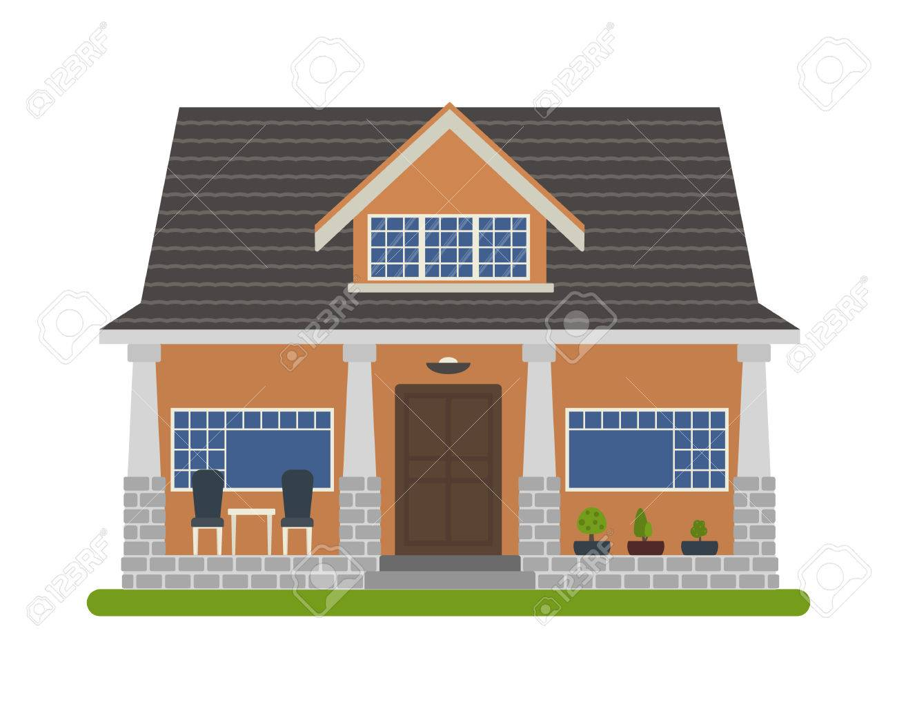 Modern Bungalow Style House Vector Illustration Of A Tourist Royalty Free Cliparts Vectors And Stock Illustration Image 69818223