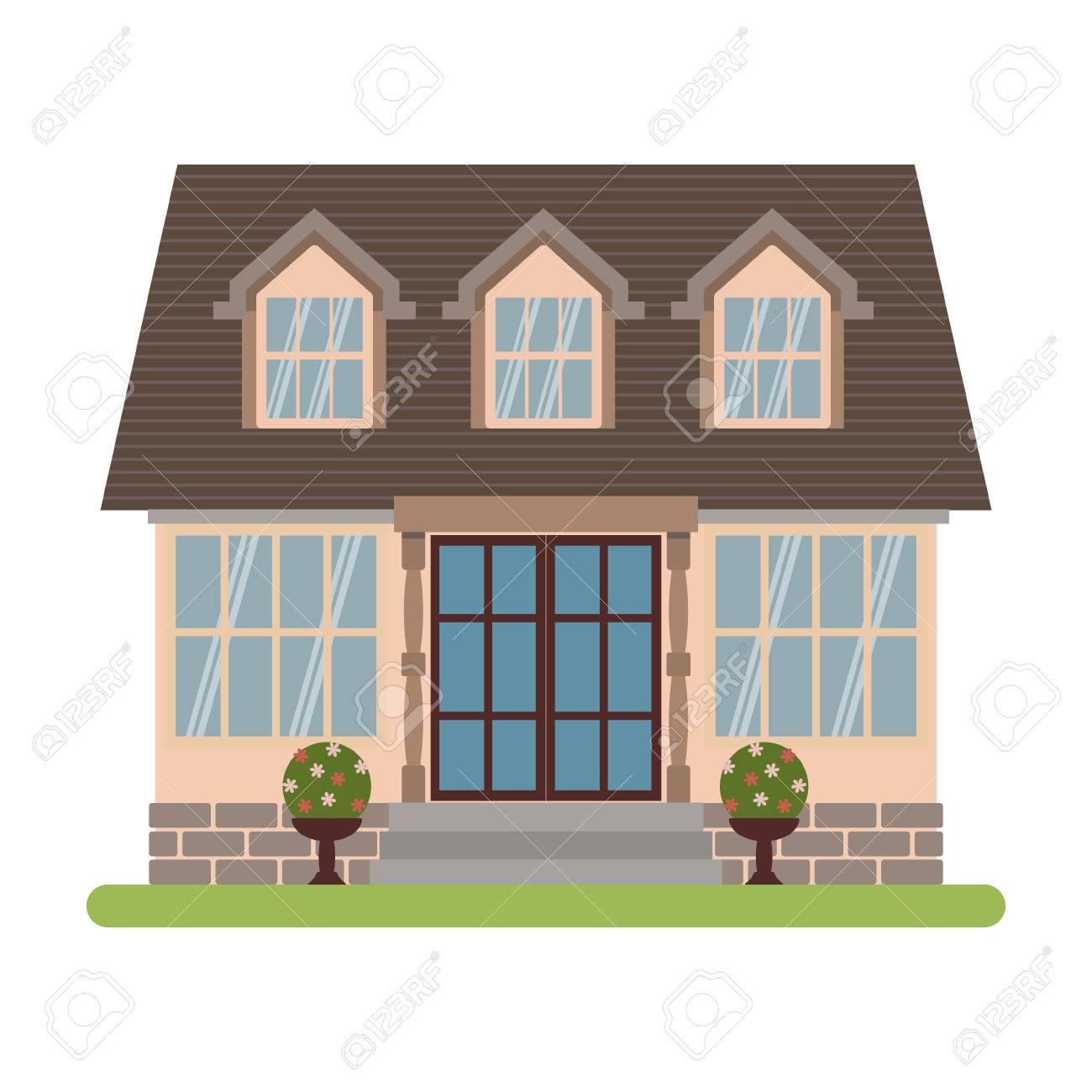 Maison de campagne moderne dans le style Cape cod. Vector illustration  d\'une maison de tourisme à louer, vente, réservation et vivant, isolé sur  fond ...