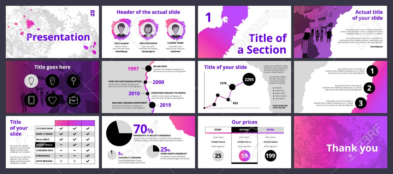 Design of a business presentation template with pink and violet gradient paint splashes and circle shapes. Vector set of infographic elements for marketing, advertising or annual report. - 110188029