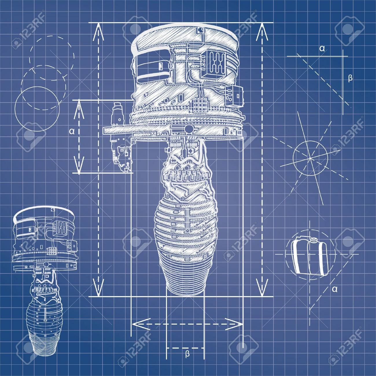 Blueprint Style Vector Outline Airplane Engine Plan Royalty Free ...