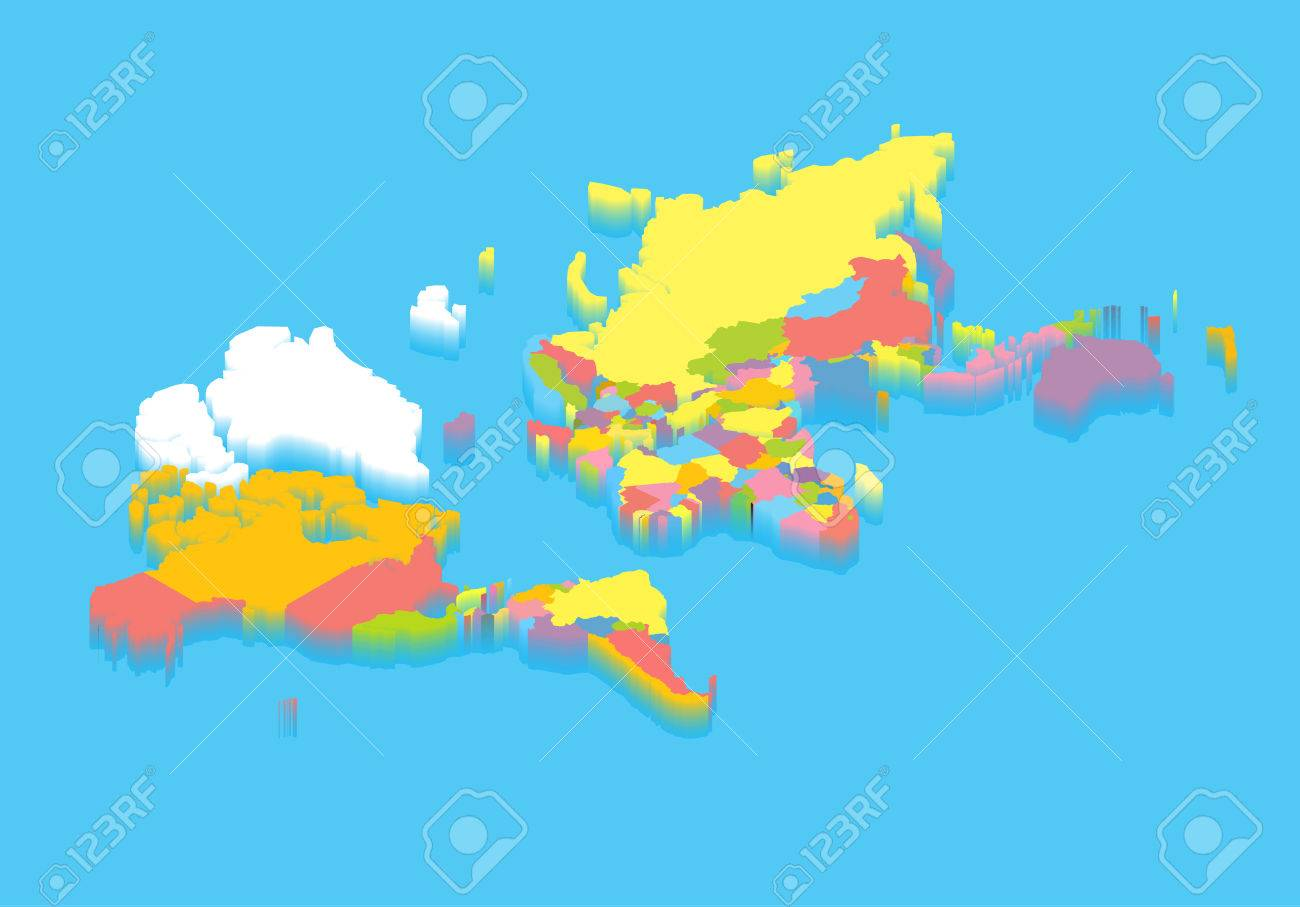 Colorful isometric political map of the world perspective colorful isometric political map of the world perspective cartography illustration puzzle and mosaic concept gumiabroncs Choice Image