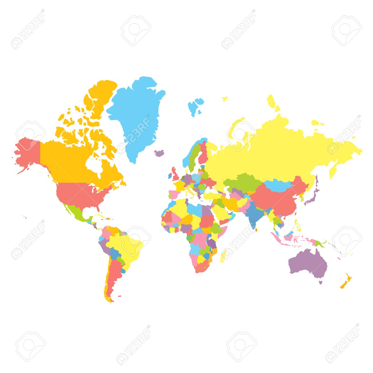 Colorfull political world map on white background each country colorfull political world map on white background each country colored in different color flat gumiabroncs Image collections