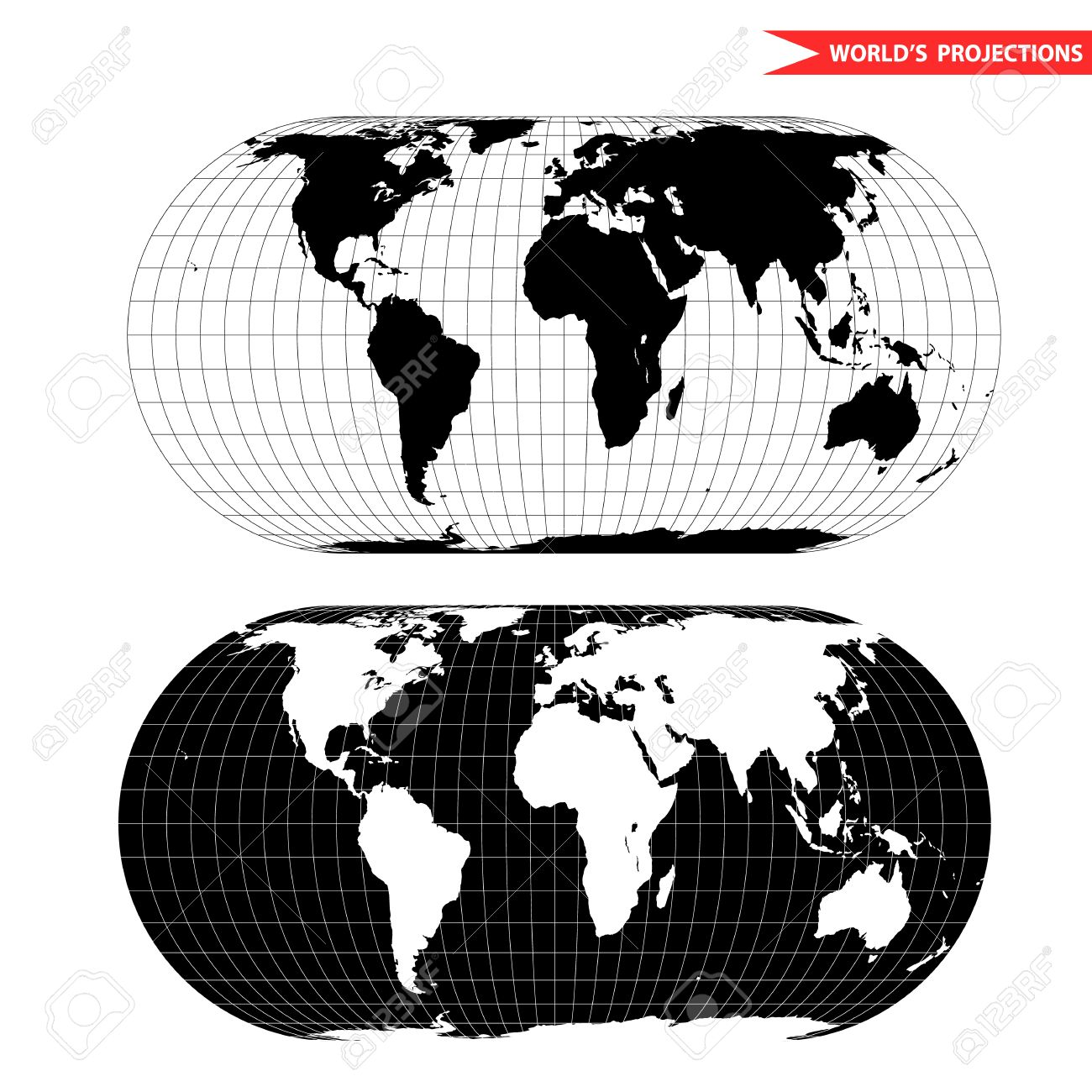 Becker world map projection black and white world map illustration becker world map projection black and white world map illustration stock vector 56153133 gumiabroncs Images