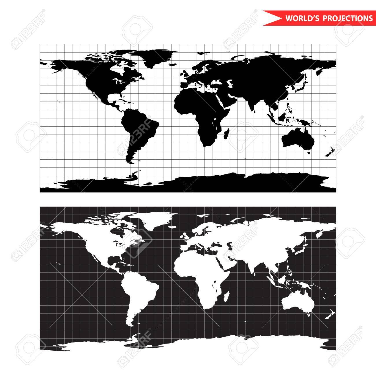 Equirectangular World Map Projection Black And White World Map
