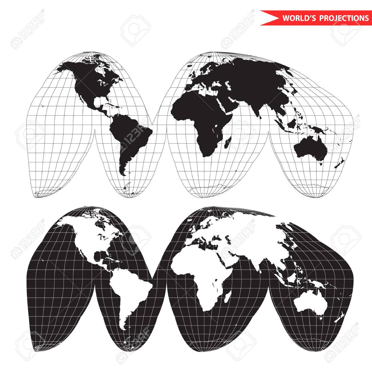 Goode homolosine projection. Orange peel world map on white background. Interrupted earth globe. - 56153134
