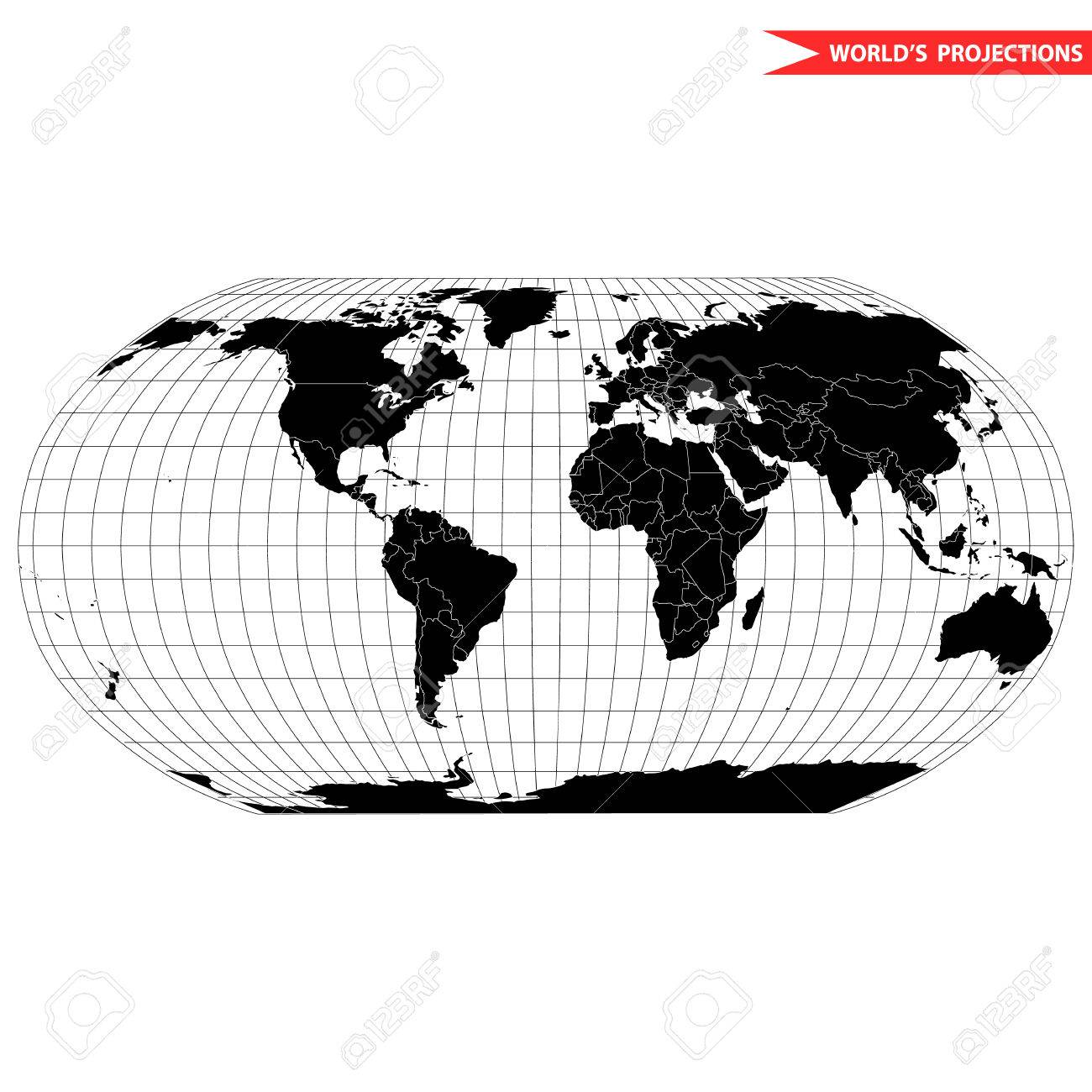 Robinson map projection of a world map which shows entire world robinson map projection of a world map which shows entire world at e as a flat gumiabroncs Choice Image