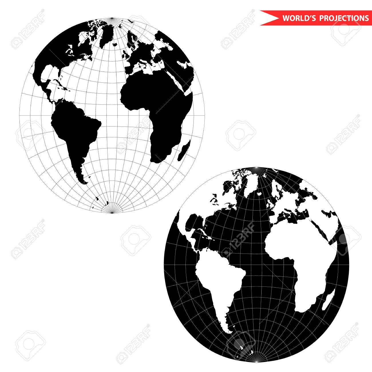 Spherical World Map Projection Black And White World Map