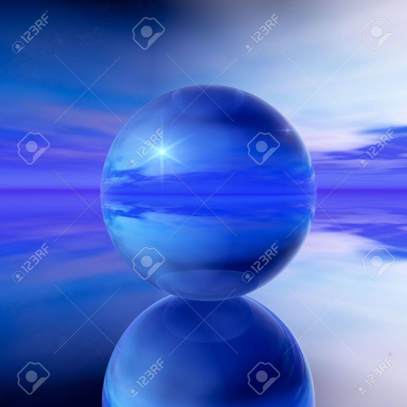 An abstract illustration background of a cool blue crystal ball with a cloudy, unclear prediction of what is to come. Stock Illustration - 6125777