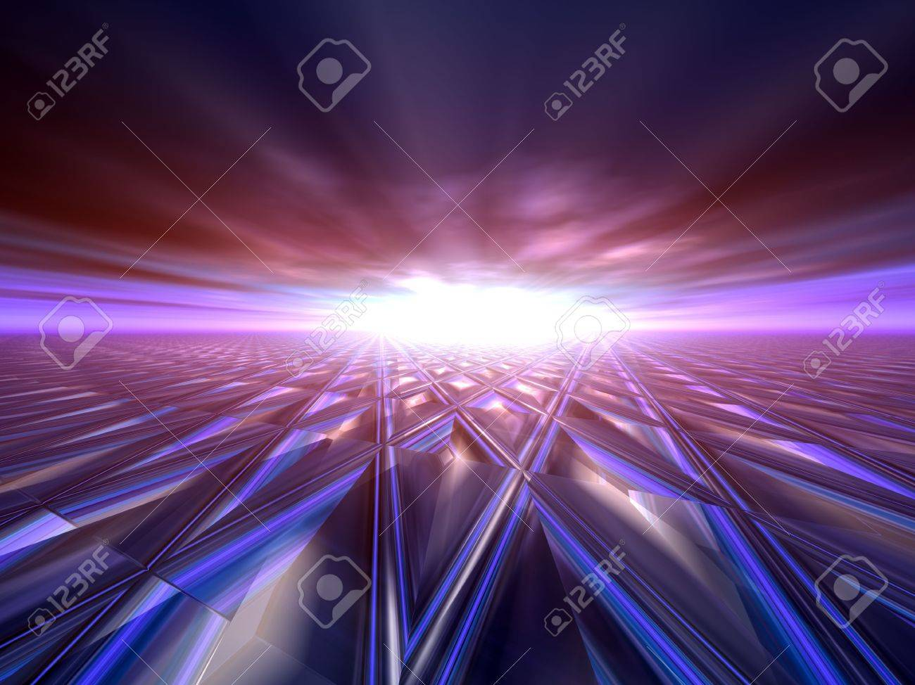 An abstract illustration background of a bright star flash on a grunge criss cross target grid horizon. Stock Illustration - 6125808