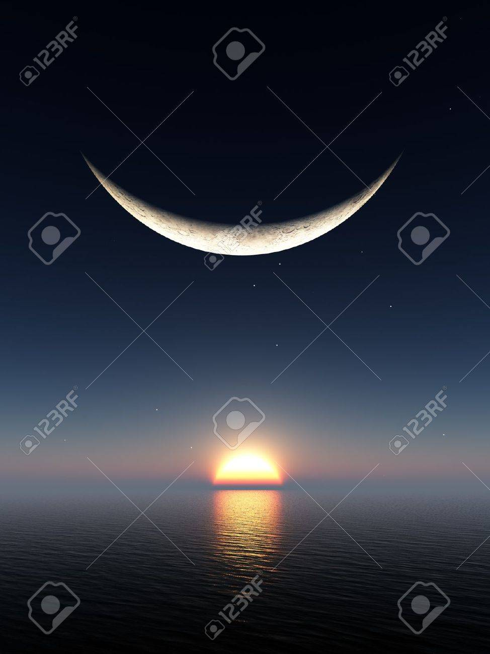 A smile shape fantasy moon over a sunrise and water horizon Stock Photo - 7517404
