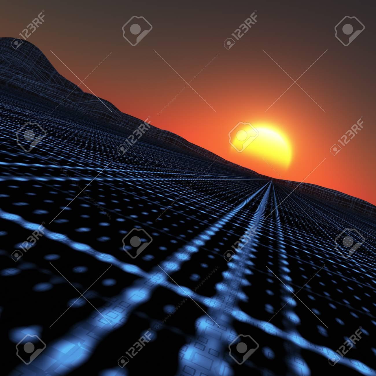 A blue grid vanishing point to horizon sunset. Stock Photo - 7517407