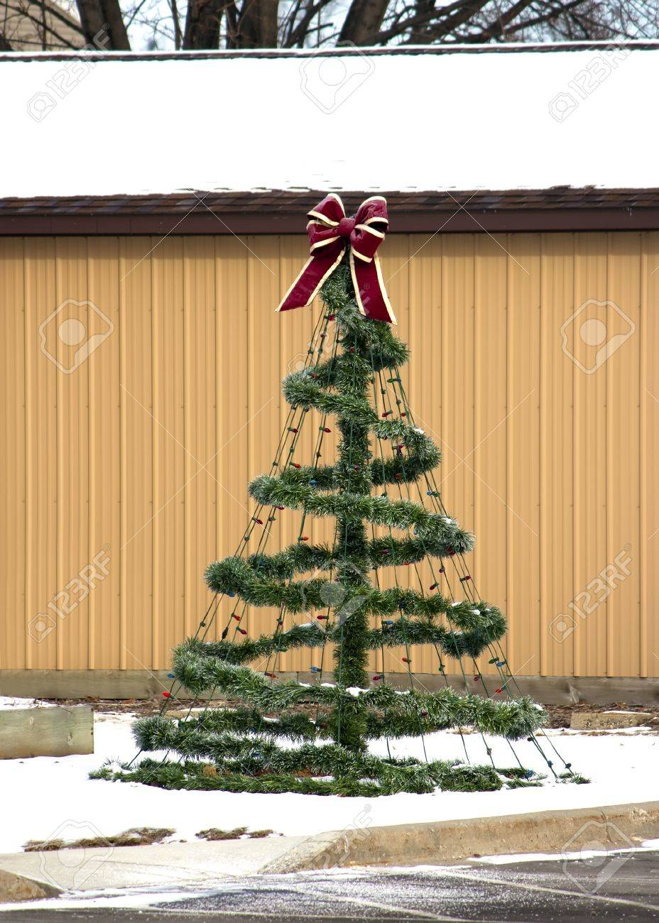 A Decorative Wire Frame Christmas Tree Stock Photo, Picture And ...