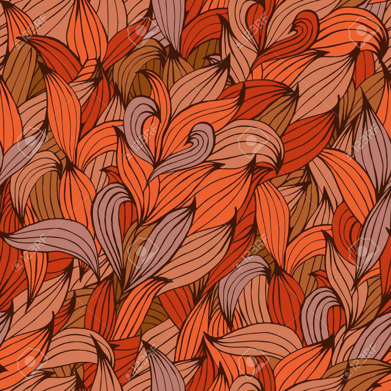 vector seamless pattern with red leaves. seamless background