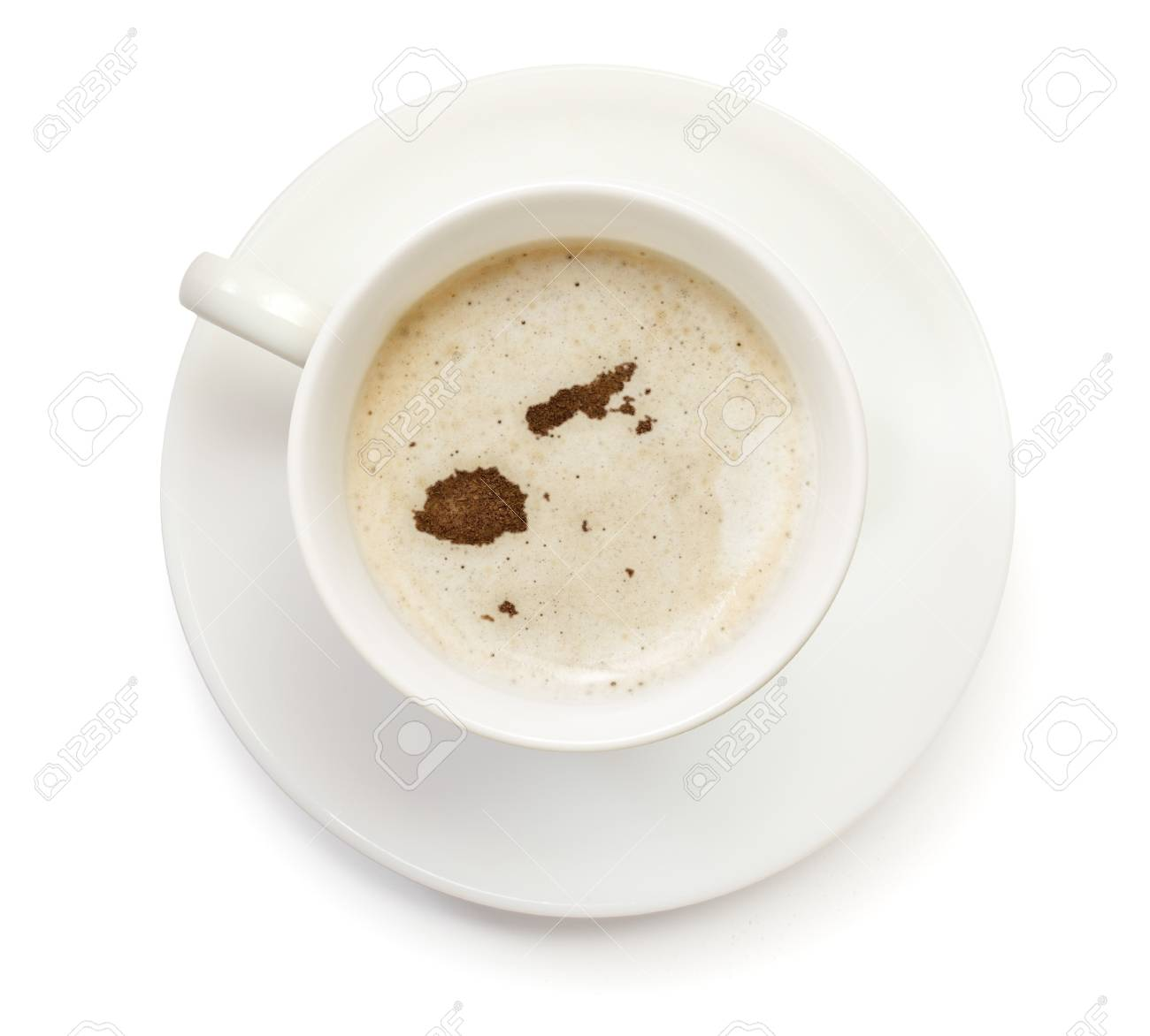 A cup of coffee with foam and powder in the shape of Fiji (series)