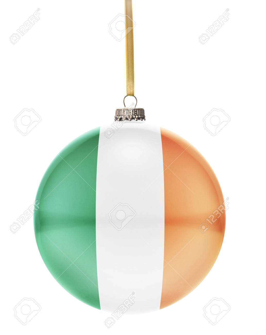 A Glossy Christmas Ball In The National Colors Of Ireland Hanging ...