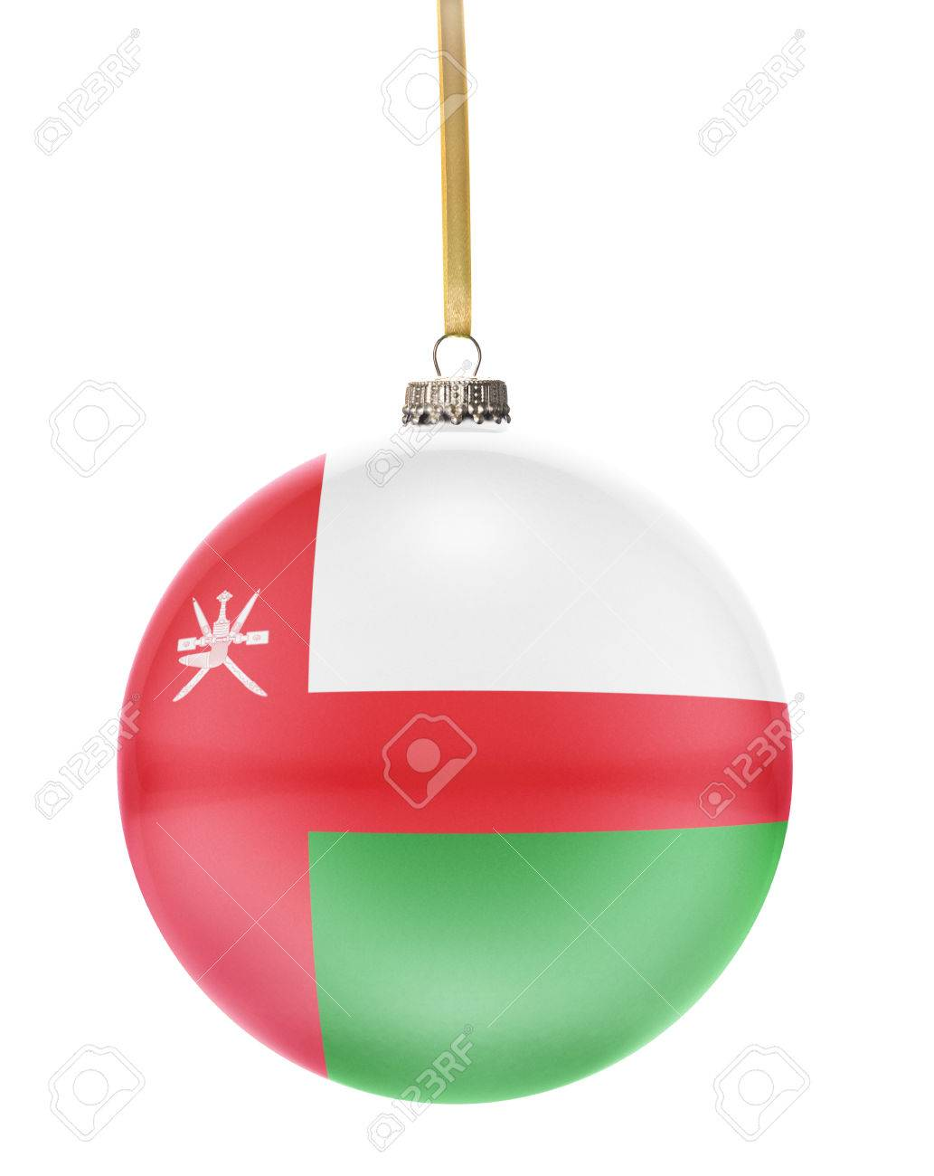A Glossy Christmas Ball In The National Colors Of Oman Hanging ...