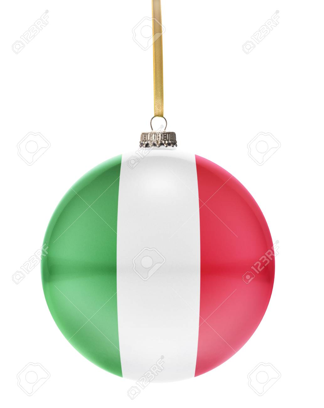 A Glossy Christmas Ball In The National Colors Of Italy Hanging ...