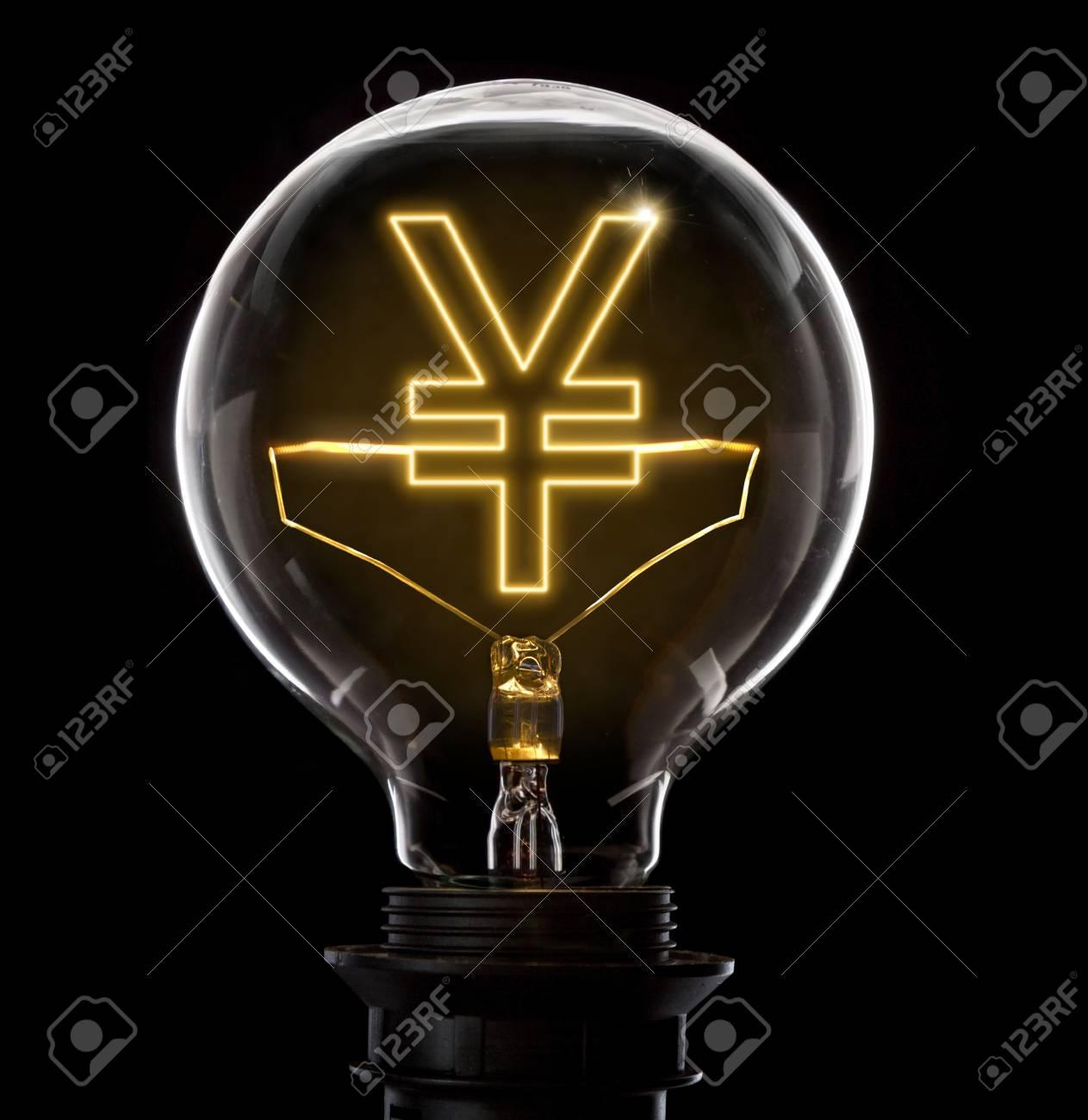 Saubere Und Glänzende Glühbirne Mit Einem Yen Oder Yuan Symbol Als ...