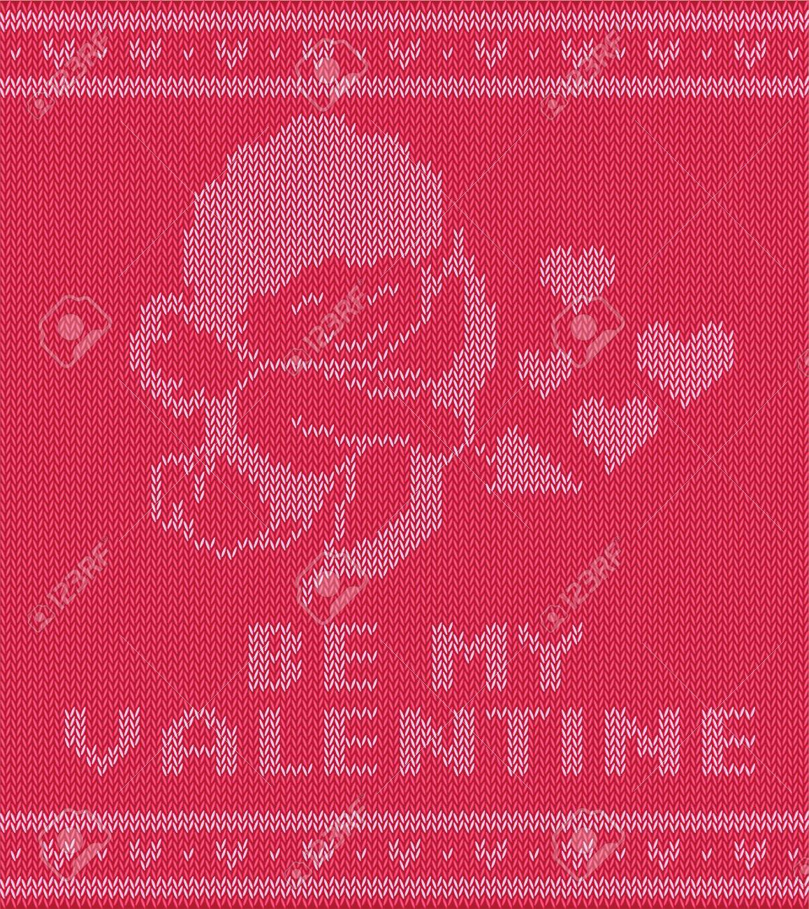 Valentine Day Knitting Pattern With Cupidon, Vector Illustration ...