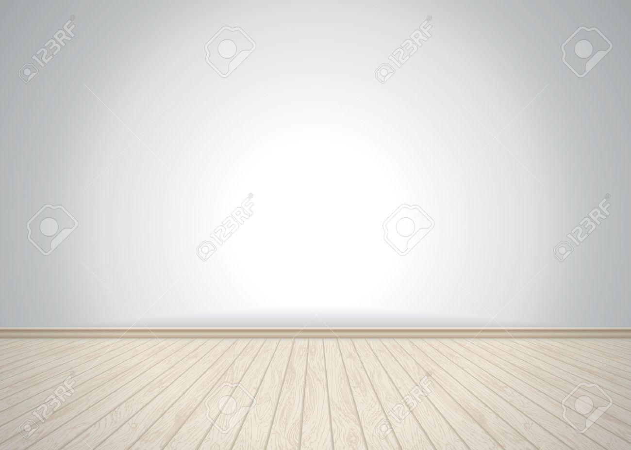 Empty room with wooden floor, vector illustration - 46002104