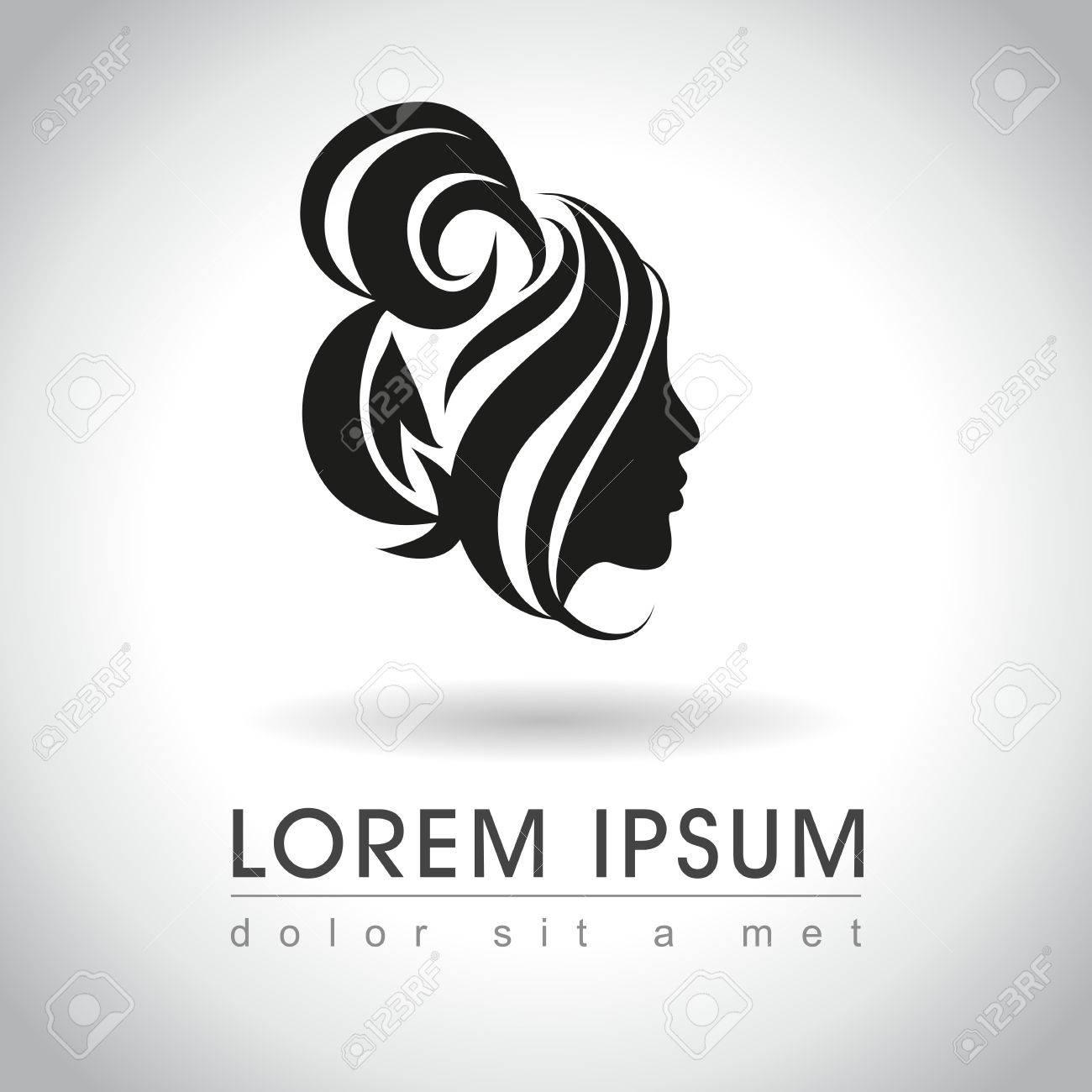 Beautiful Woman Face With Messy Bun Logo Sample, Vector ...