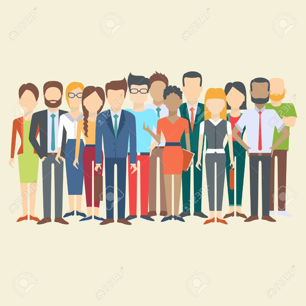Set of business people, collection of diverse characters in flat cartoon style, vector illustration - 60236048