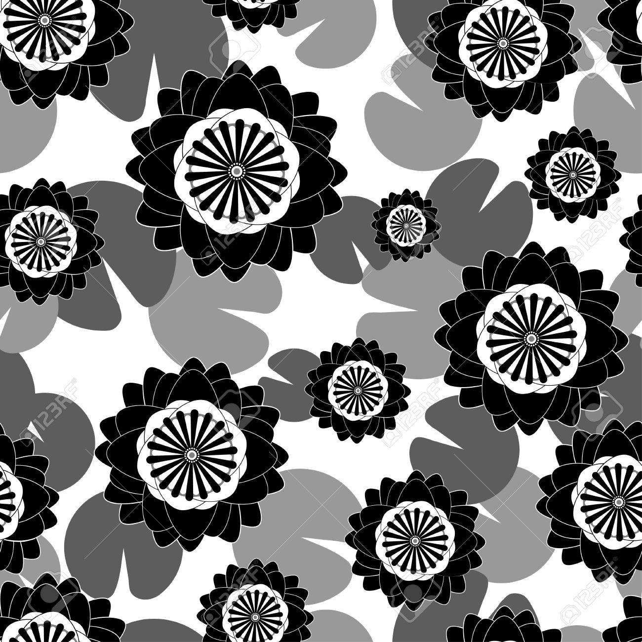 Flower Water Lily Seamless Pattern Monochrome For Fabric Print