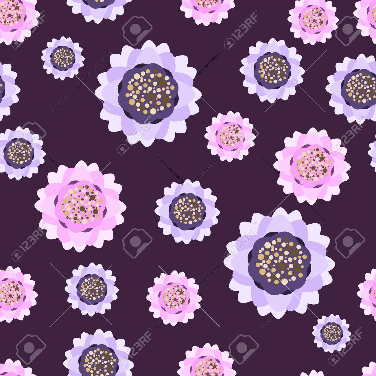 Flower Water Lily Seamless Pattern For Fabric Print Wallpaper