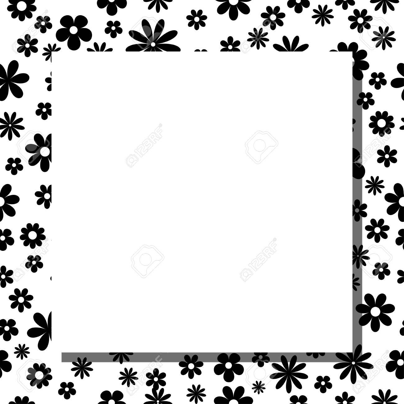 Marco De La Tarjeta De Felicitación Con Flores Negras - Ilustración ...