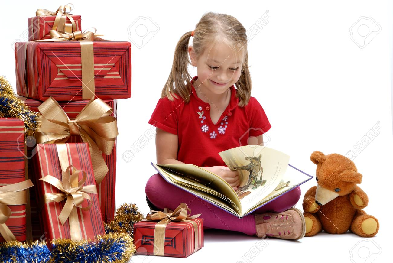 Cute Little Girl With Christmas Gifts On A White Background,.. Stock ...