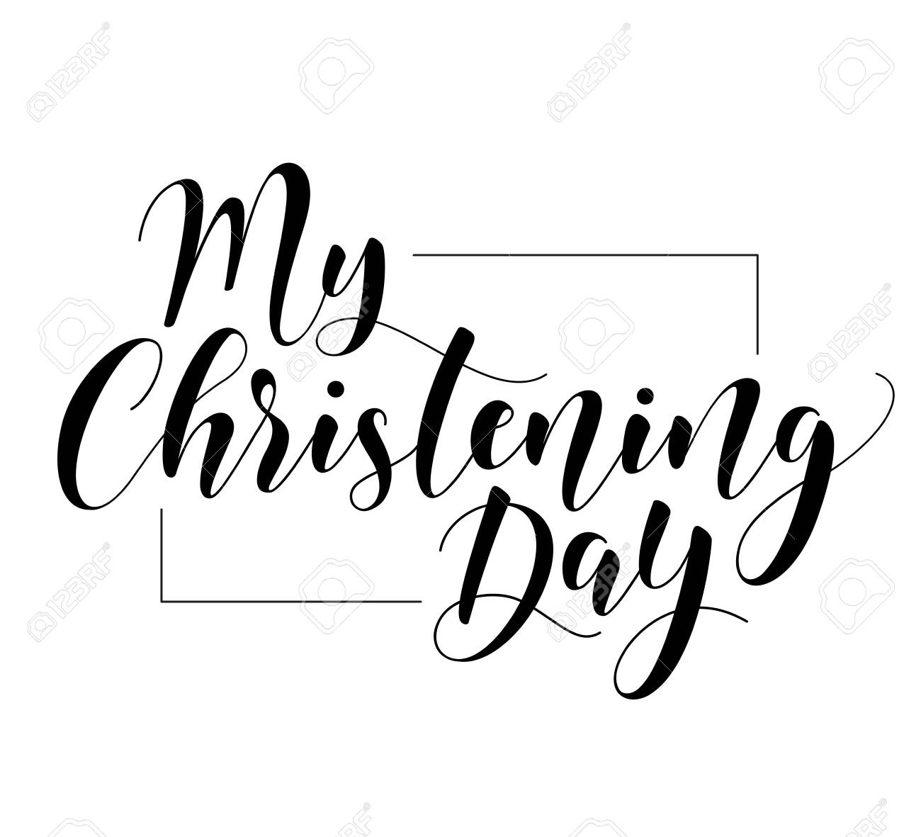 My Christening Day. Black text isolated on white background. Vector stock illustration. Welcome to the Christian world. Baptism lettering - 140700488