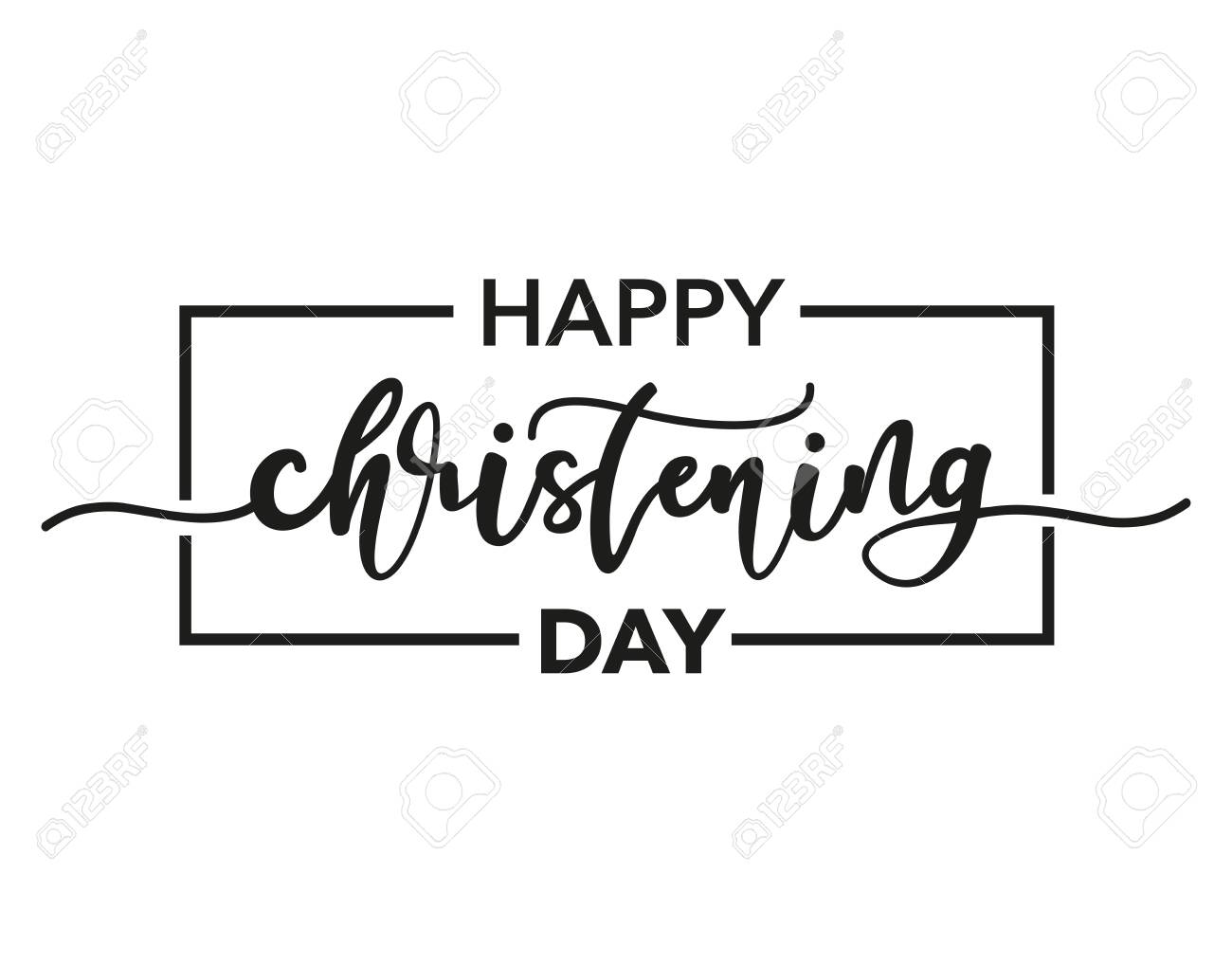Happy Christening Day. Black text isolated on white background. Vector stock illustration. Welcome to the Christian world. Baptism lettering - 141989546
