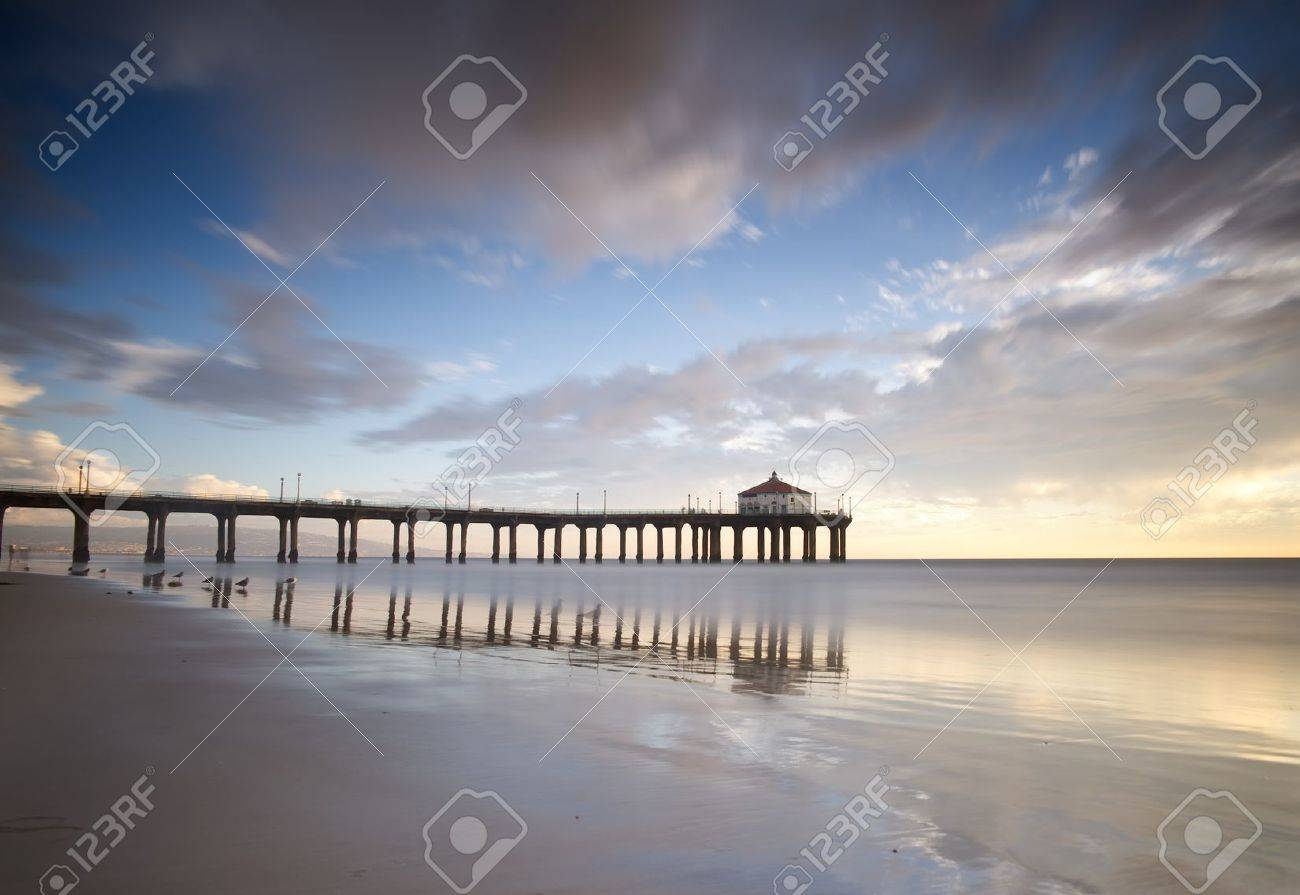 Manhattan Beach Pier Long Exposure Stock Photo Picture And Royalty