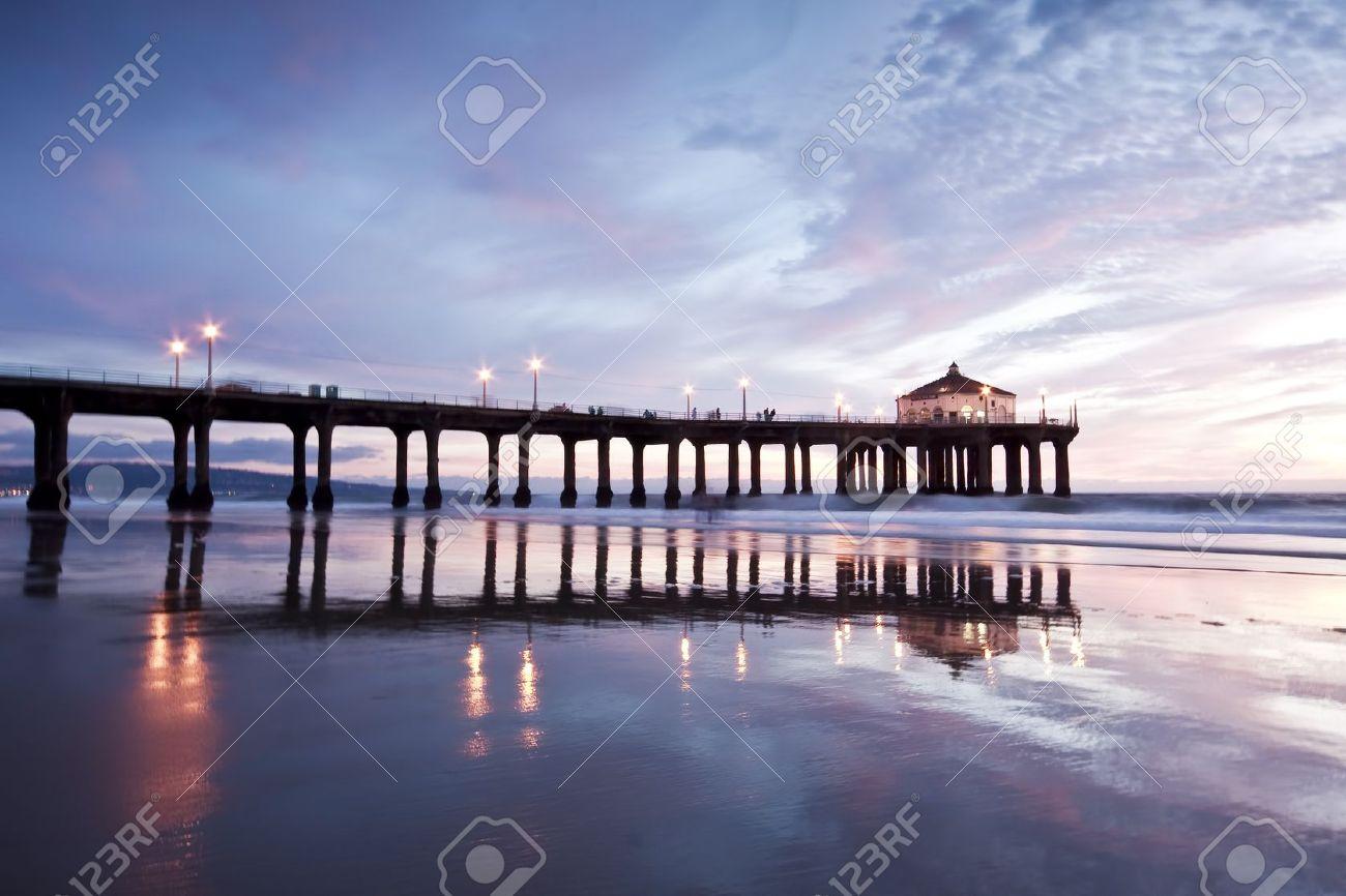 Manhattan Beach Pier Nightfall Stock Photo Picture And Royalty Free