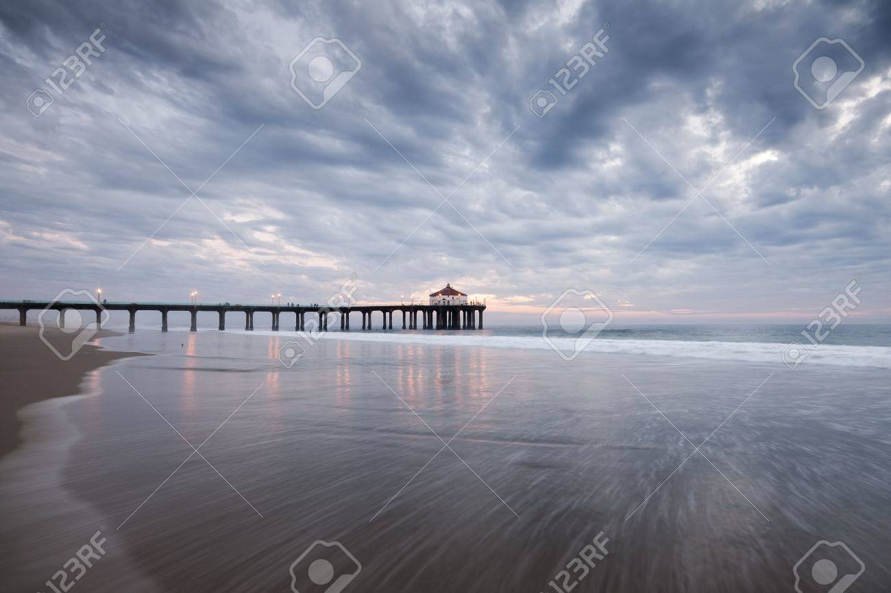 Manhattan Beach Pier Stormy Sunset Stock Photo Picture And Royalty