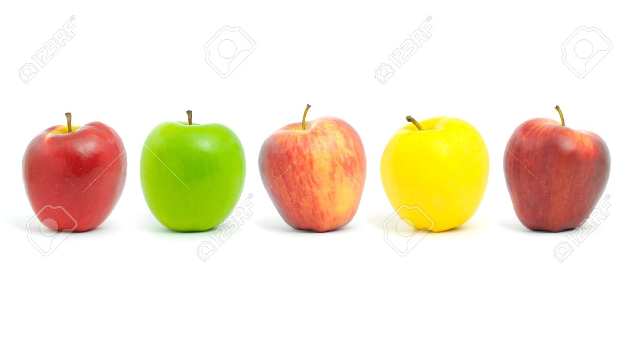 Fresh apples of different colors , isolated on white. Stock Photo - 14517705