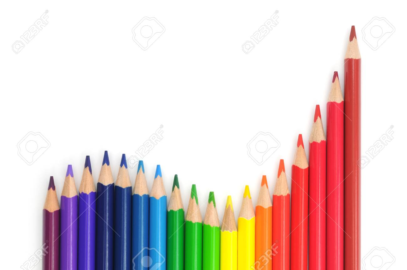 A group of multicolored pencils isolated on white. Stock Photo - 16747306