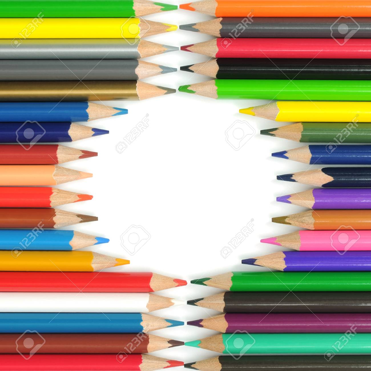 Circle from color pencils. It is isolated on a white background Stock Photo - 16939392