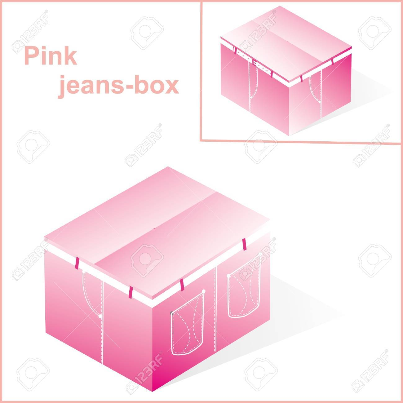 box, cardboard  for pink jeans or pants packing, with denim lines style, closed Stock Vector - 15354262