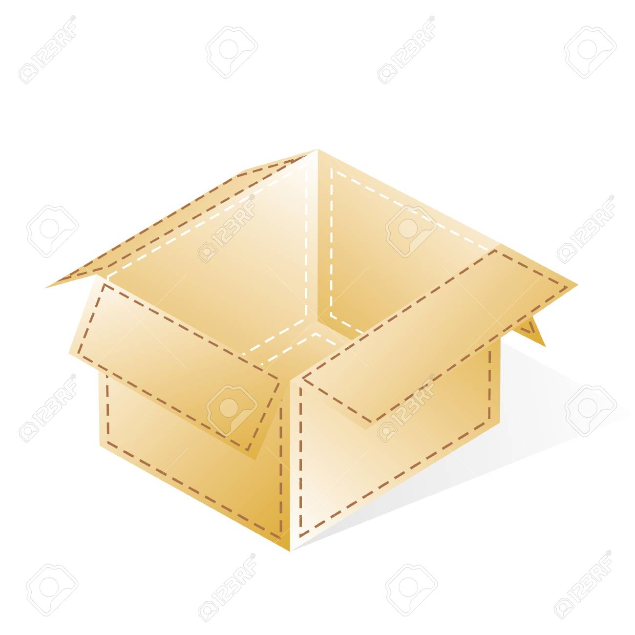 box, open, cardboard with a dash-dotted beige stripes Stock Vector - 15354125