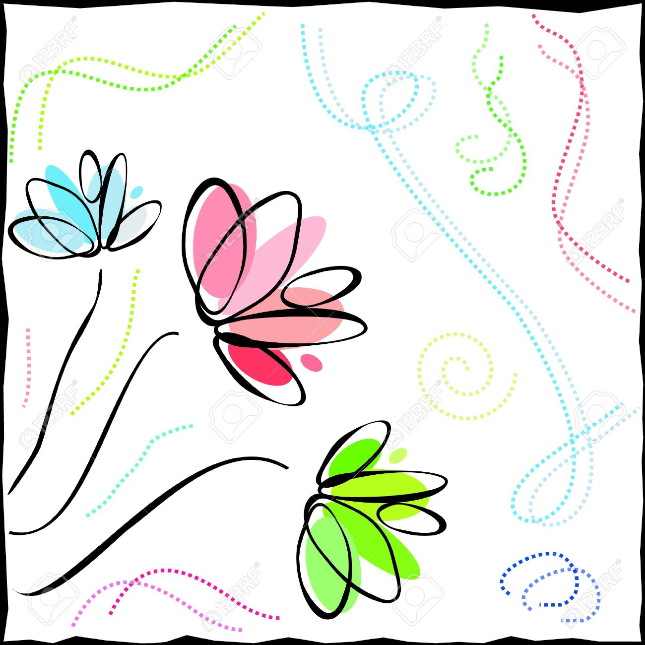 colored outlines of flowers Stock Vector - 15354500