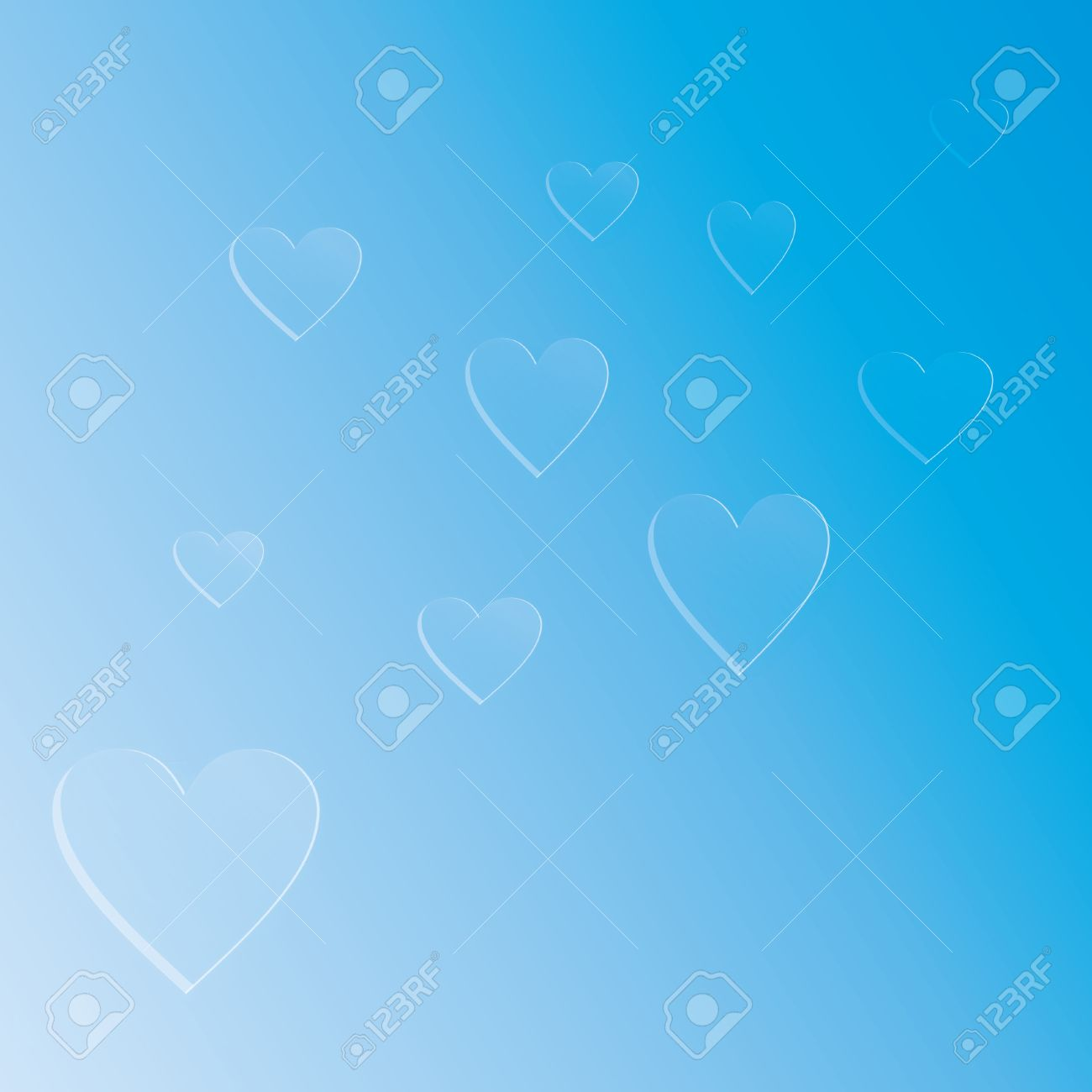 Background white and blue hearts on a blue, heart background Stock Photo - 15887708