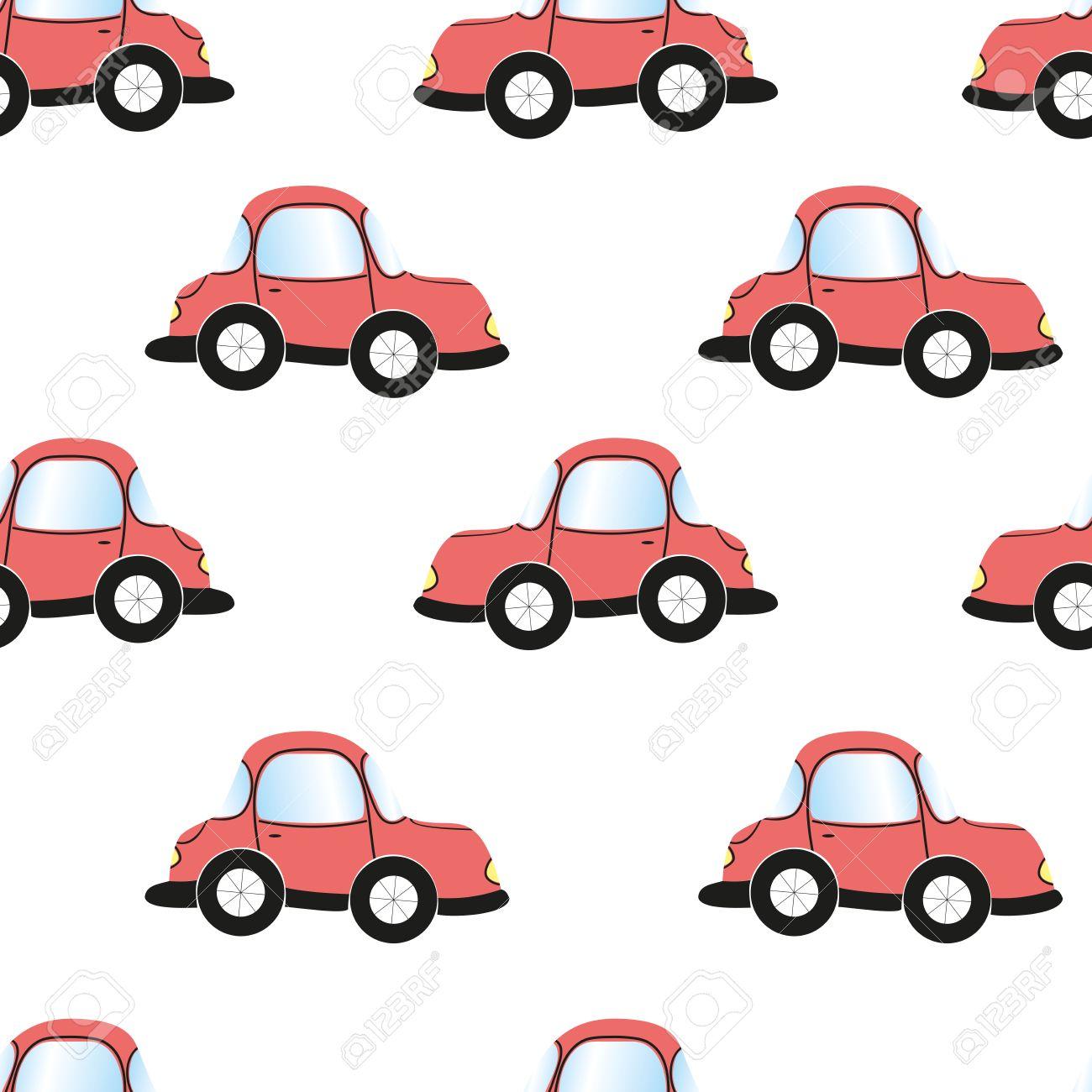 Cartoon Car Seamless Pattern Vector Illustration Wallpaper