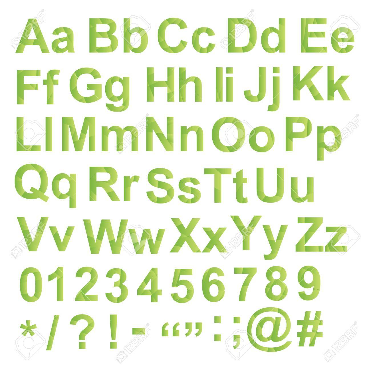 Alphabet Set, Unusual Gradient Green Color, With Letters Numbers ...