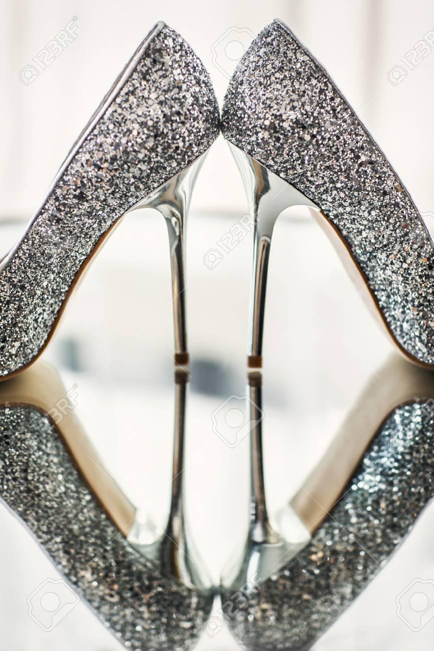 Silver Wedding Shoes.Silver Wedding Shoes On A Mirror Wedding Preparation