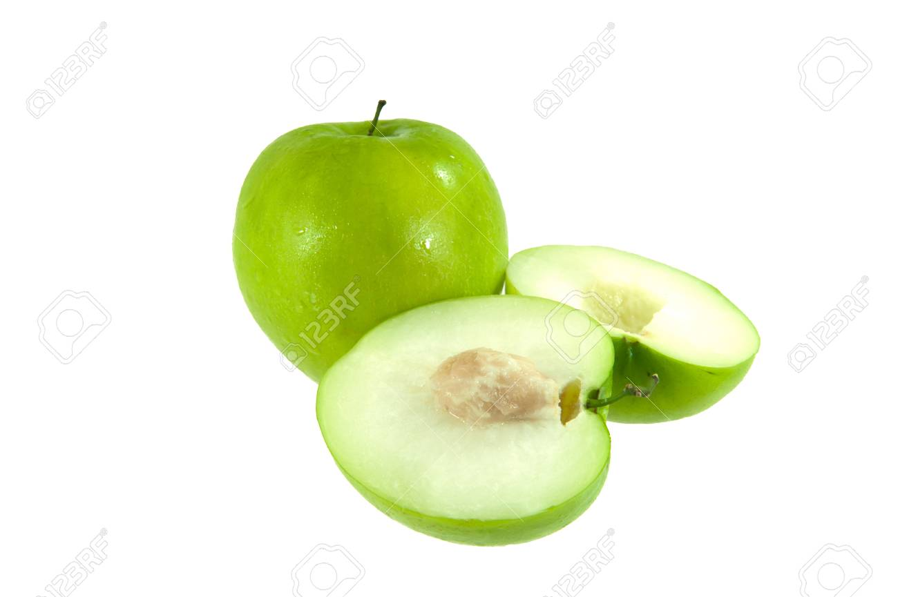 The jujube full and half on white background Stock Photo - 17312357