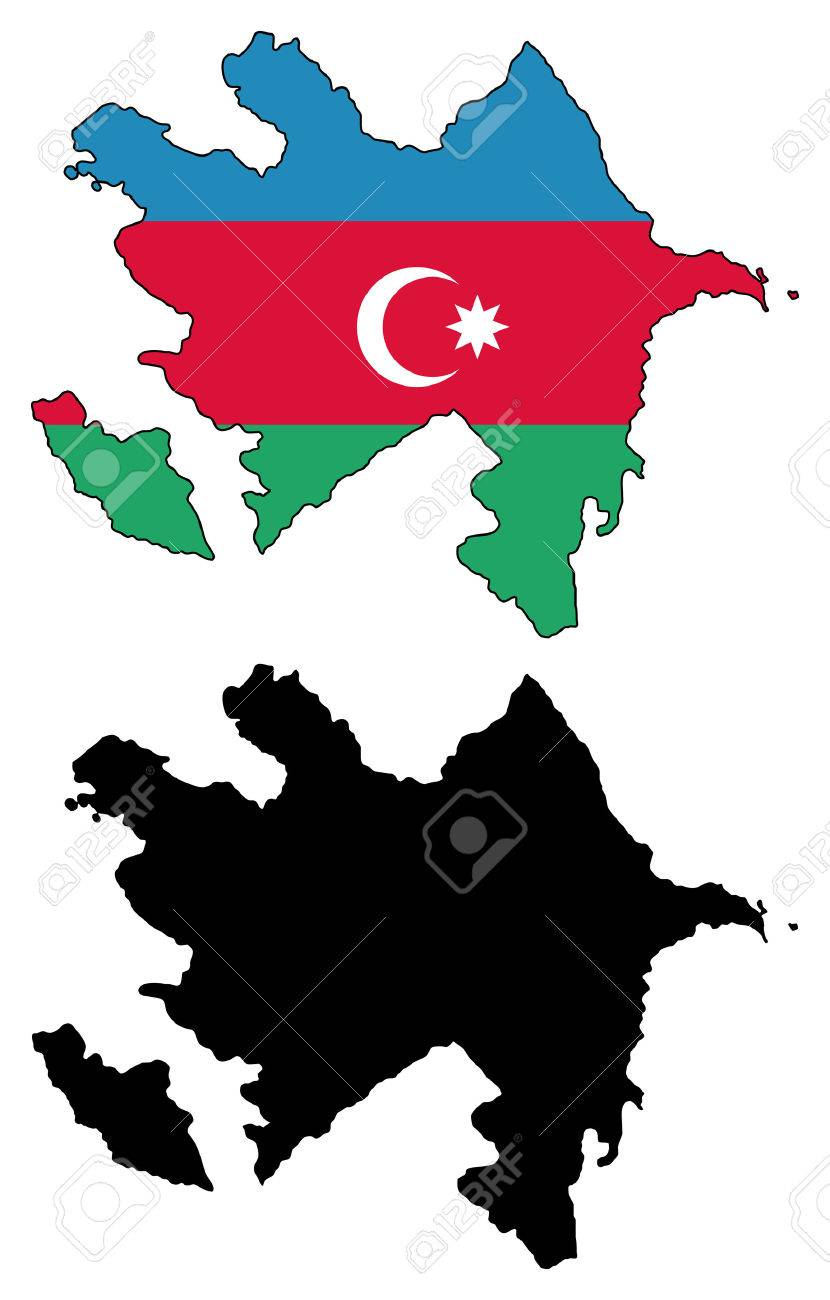 vector map and flage of azerbaijan royalty free cliparts vectors