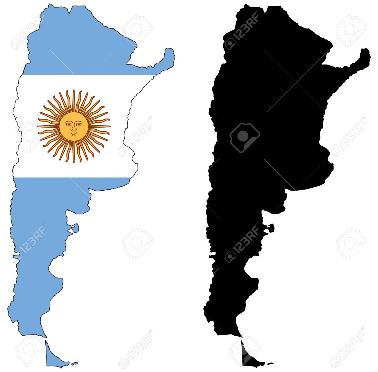Vector Map And Flag Of Argentina Royalty Free Cliparts Vectors - Argentina map shape